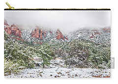 Snow On Red Rock Carry-all Pouch