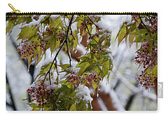Carry-all Pouch featuring the photograph snow on the Cherry blossoms by Chris Flees
