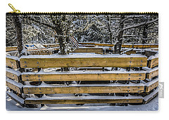 Snow On The Fence Carry-all Pouch by Bill Howard