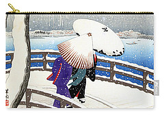Snow On Willow Bridge By Koson Carry-all Pouch