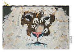 Carry-all Pouch featuring the painting Snow Tiger by Donald J Ryker III