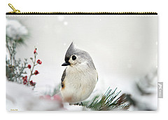 Snow White Tufted Titmouse Carry-all Pouch by Christina Rollo