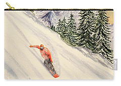Carry-all Pouch featuring the painting Snowboarding Free And Easy by Bill Holkham