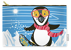 Snowboarding Penguin Carry-all Pouch