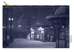Snowfall In Harvard Square Cambridge Ma Kiosk Monochrome Blue Carry-all Pouch