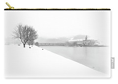 Snowfall On The River Danube At Ybbs Carry-all Pouch by Menega Sabidussi