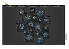 Carry-all Pouch featuring the photograph Snowflake Collage - Dark Crystals 2012-2014 by Alexey Kljatov