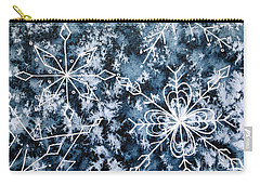 Carry-all Pouch featuring the painting Snowflake Greetings by Rebecca Davis