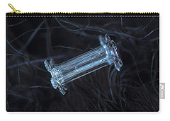 Carry-all Pouch featuring the photograph Snowflake Photo - Capped Column by Alexey Kljatov