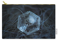 Carry-all Pouch featuring the photograph Snowflake Photo - Hex Appeal by Alexey Kljatov
