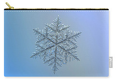 Carry-all Pouch featuring the photograph Snowflake Photo - Majestic Crystal by Alexey Kljatov