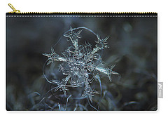 Carry-all Pouch featuring the photograph Snowflake Photo - Starlight by Alexey Kljatov