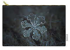 Carry-all Pouch featuring the photograph Snowflake Photo - Vega by Alexey Kljatov