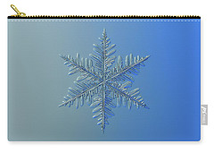 Carry-all Pouch featuring the photograph Snowflake Photo - Winter Is Coming by Alexey Kljatov
