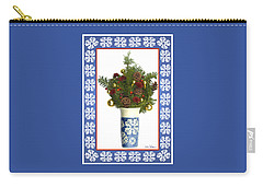 Snowflake Vase With Christmas Regalia Carry-all Pouch by Lise Winne