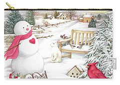 Snowman Cardinal In Winter Garden Carry-all Pouch