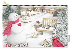 Snowman Cardinal In Winter Garden Carry-all Pouch