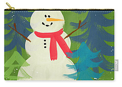 Snowman In Red Hat-art By Linda Woods Carry-all Pouch