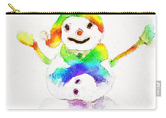 Carry-all Pouch featuring the painting Snowman With Rainbow 1 by Claire Bull