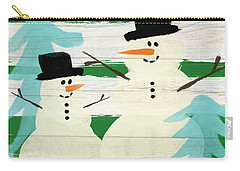 Snowmen With Blue Trees- Art By Linda Woods Carry-all Pouch by Linda Woods
