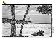 Carry-all Pouch featuring the photograph Snowmobile Michigan Black And White  by John McGraw