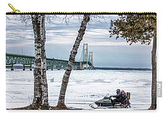 Carry-all Pouch featuring the photograph Snowmobile Michigan  by John McGraw