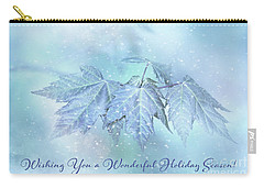 Snowy Baby Leaves Winter Holiday Card Carry-all Pouch
