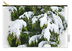 Carry-all Pouch featuring the photograph Snowy Cedar Boughs by Will Borden