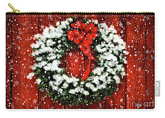 Snowy Christmas Wreath Carry-all Pouch by Lois Bryan