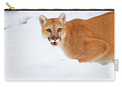 Snowy Cougar Carry-all Pouch by Steve McKinzie