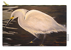 Carry-all Pouch featuring the painting Snowy Egret by Alan Lakin
