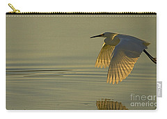 Carry-all Pouch featuring the photograph Snowy Egret At Dusk-signed-#6037 by J L Woody Wooden