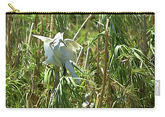 Snowy Egret Feeding Its Young - Digitalart Carry-all Pouch