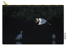 Snowy Egret Gliding In The Morning Light Carry-all Pouch