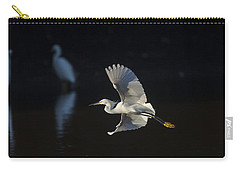 Snowy Egret In Flight In The Morning Light Carry-all Pouch