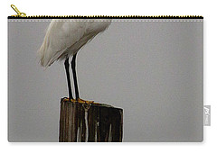 Snowy Egret In The Fog  Carry-all Pouch