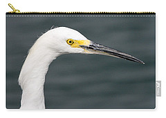 Carry-all Pouch featuring the pyrography Snowy Egret Profile by Shoal Hollingsworth