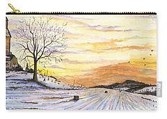 Carry-all Pouch featuring the digital art Snowy Farm by Darren Cannell