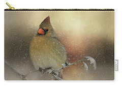 Snowy Female Cardinal Carry-all Pouch