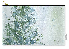 Carry-all Pouch featuring the painting Snowy Fir Tree by Dawn Derman