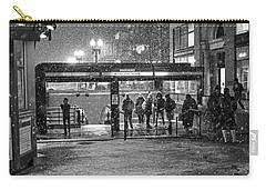 Snowy Harvard Square Night- Harvard T Station Black And White Carry-all Pouch