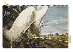 Snowy Heron Carry-all Pouch by John James Audubon