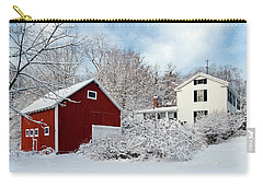 Snowy Homestead With Red Barn Carry-all Pouch