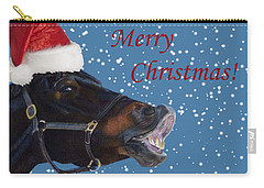 Snowy Horse Jumping Christmas Carry-all Pouch by Patricia Barmatz