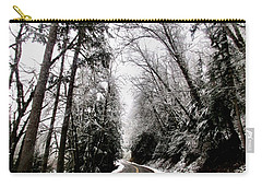 Carry-all Pouch featuring the photograph Snowy Kapowsin Wa Road by Sadie Reneau