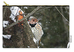 Snowy Northern Flicker Carry-all Pouch by Trina Ansel