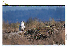 Carry-all Pouch featuring the photograph Snowy Owl On Log by Sharon Talson