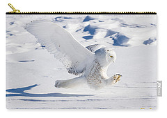 Snowy Owl Pouncing Carry-all Pouch