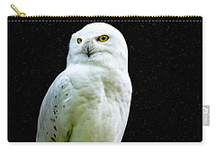 Carry-all Pouch featuring the photograph Snowy Owl Under The Moon by Scott Carruthers