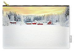 Snowy Ranch At Sunset Carry-all Pouch